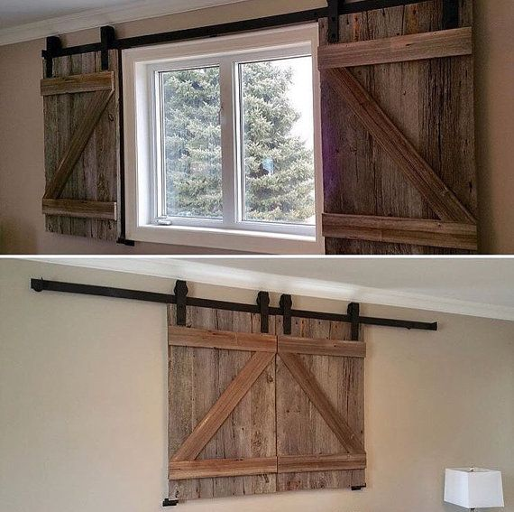 Two Custom Rustic Wood Barn Door Shutters For Windows