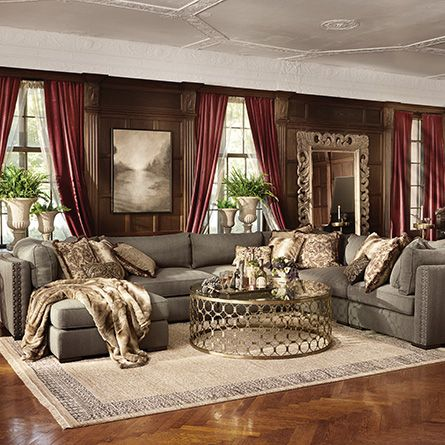 Arhaus sectional and coffee table truffle 158 six piece for Home decor milano