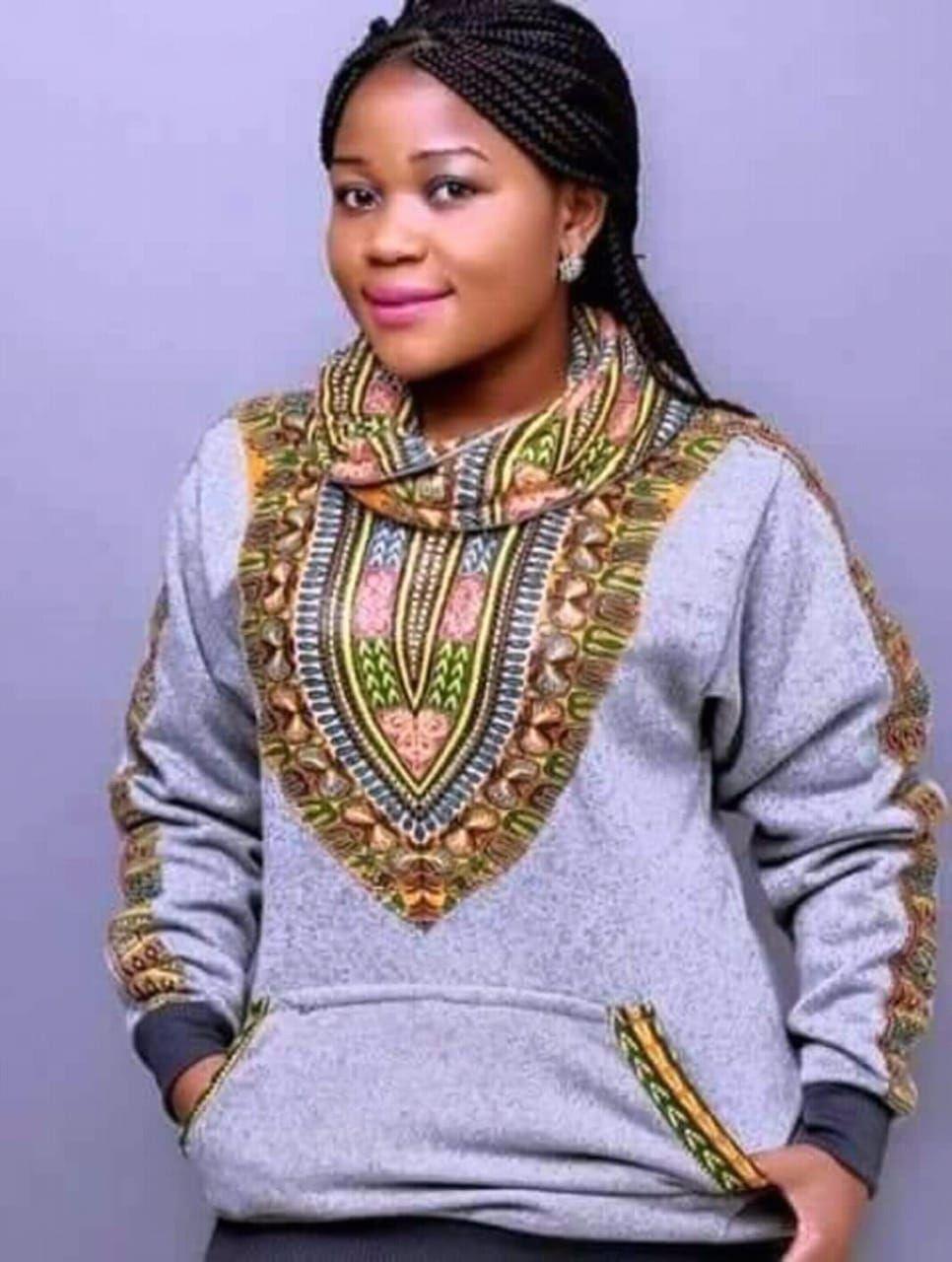 Dashki Fabric African Fashion Ankara Kitenge African: Light Gray Dashiki Snood / African Prints / Ankara
