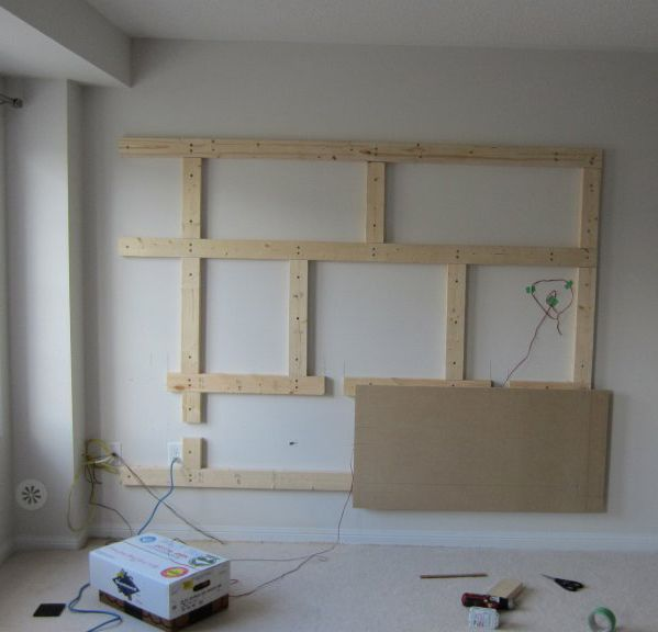 Floating wall tv shelf stand game room 2015 pinterest for How to build floating walls in basement