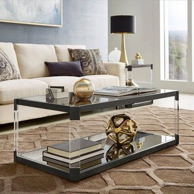 Ripley Black Mirrored Coffee Table With Acrylic Legs And Casters