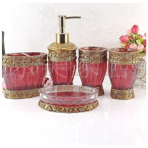 Vintage Red Bathroom Accessories, 5Piece Bathroom Accessories Set, Bathroom  Set Features , Soap Dispenser
