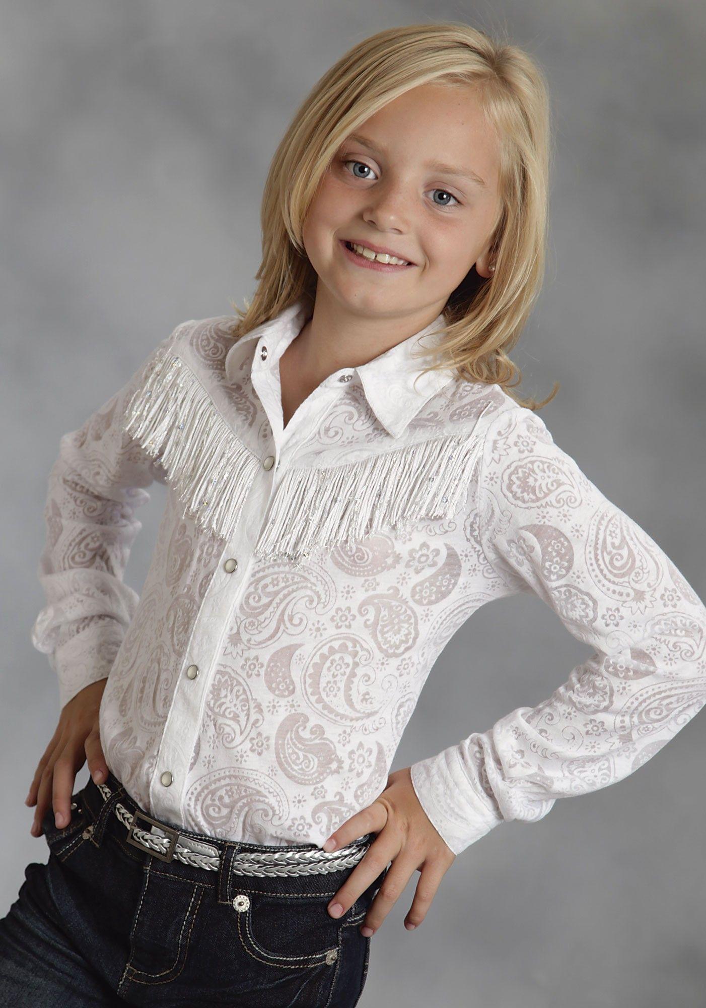 224e614fa GlitteryWhite Fringe   Girl s Western Show Shirt