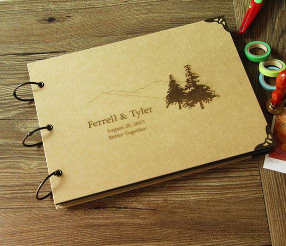 Personalizado grabado fotos / álbum de Kraft / / montaña y árbol //custom boda…