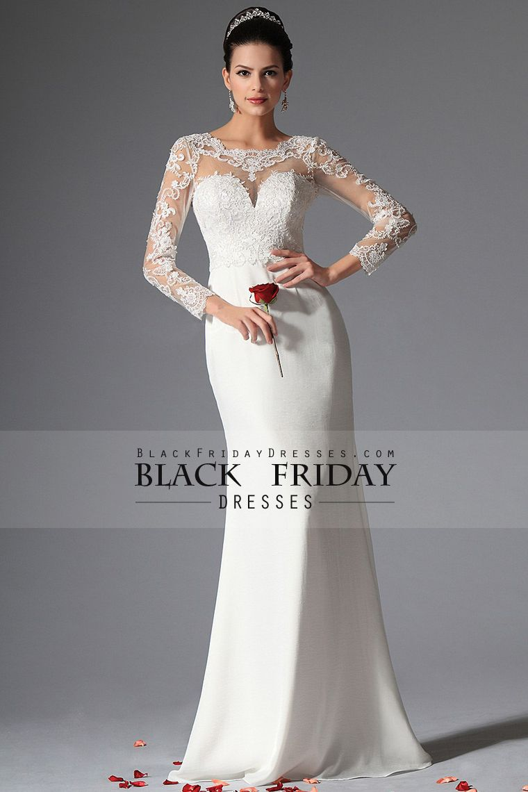 full sleeves scoop mermaid wedding dresses with applique