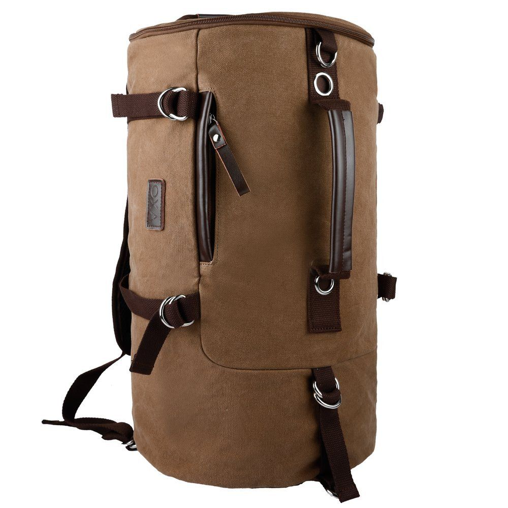 8d06063bb4 OXA Cylinder Canvas Backpack Rucksack Outdoor Backpack Duffel Bag for Men  and Women Hiking Travel Gym Climbing Camping Sports Two Different Ways of  Carrying ...