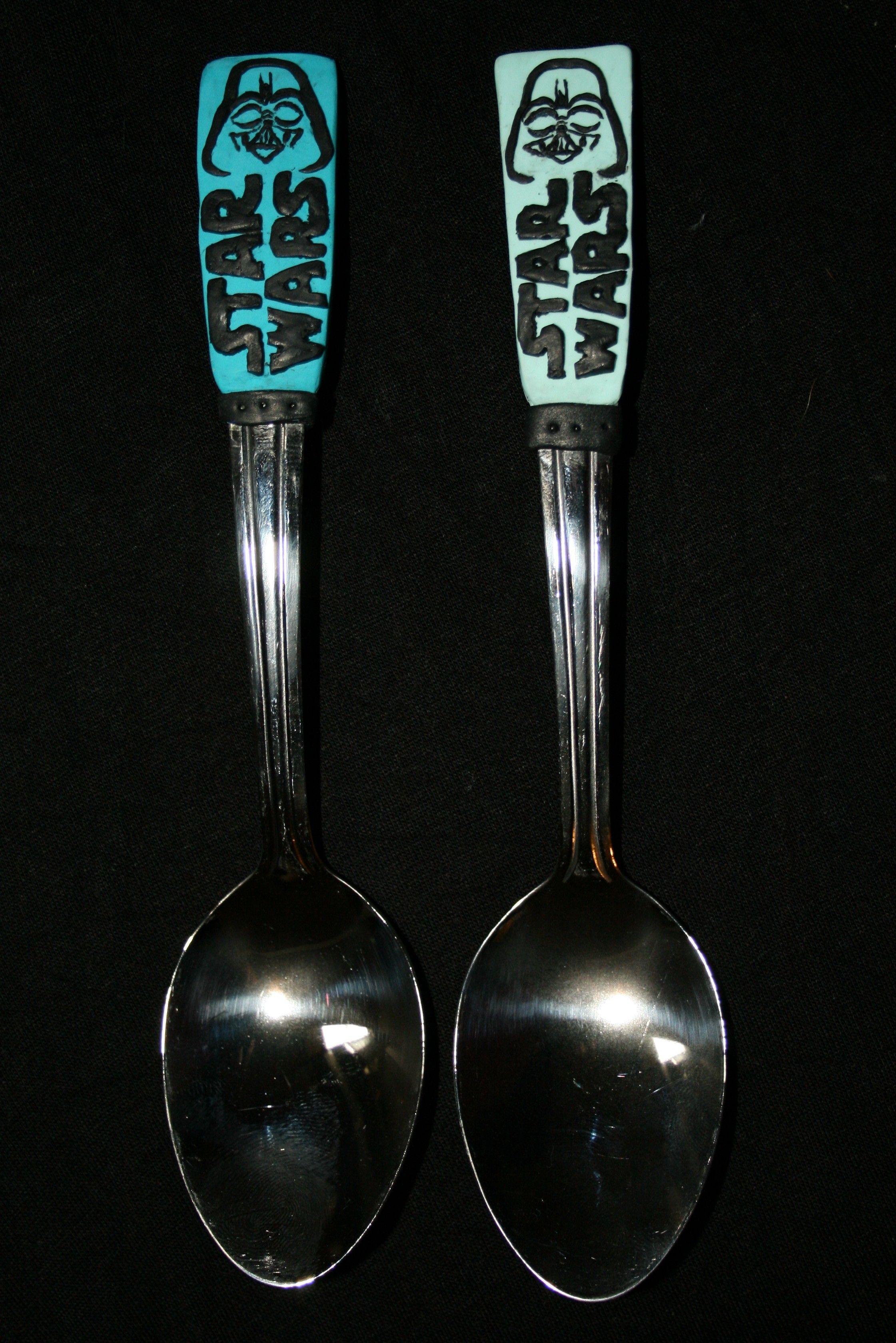 handmade fimo polymer clay spoons star wars darth vader handmade