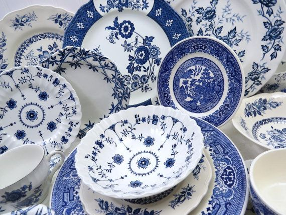 20 Piece Vintage Mismatched Blue \u0026 White Ironstone China Dinnerware Set Service for 4 & 20 Piece Vintage Mismatched Blue \u0026 White Ironstone China Dinnerware ...
