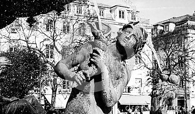 One of the mermaids statues at Rossio square.