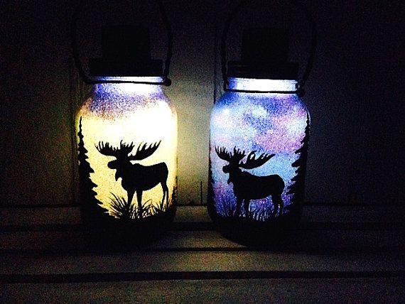 Day Or Night Moose Mason Jar Light Outdoor Solar Light Hand Painted Mason Jar Hanging Lantern Q Mason Jar Lights Outdoor Mason Jar Fairy Lights Jar Lights