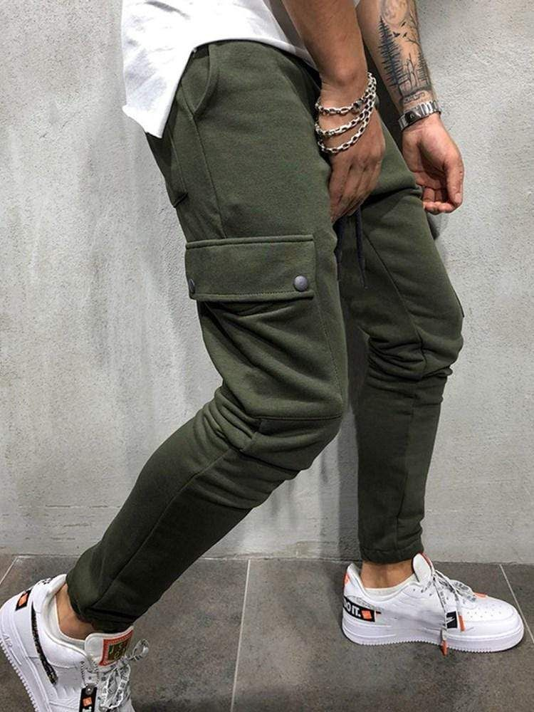 European style loose fit pocket side mens casual pants in