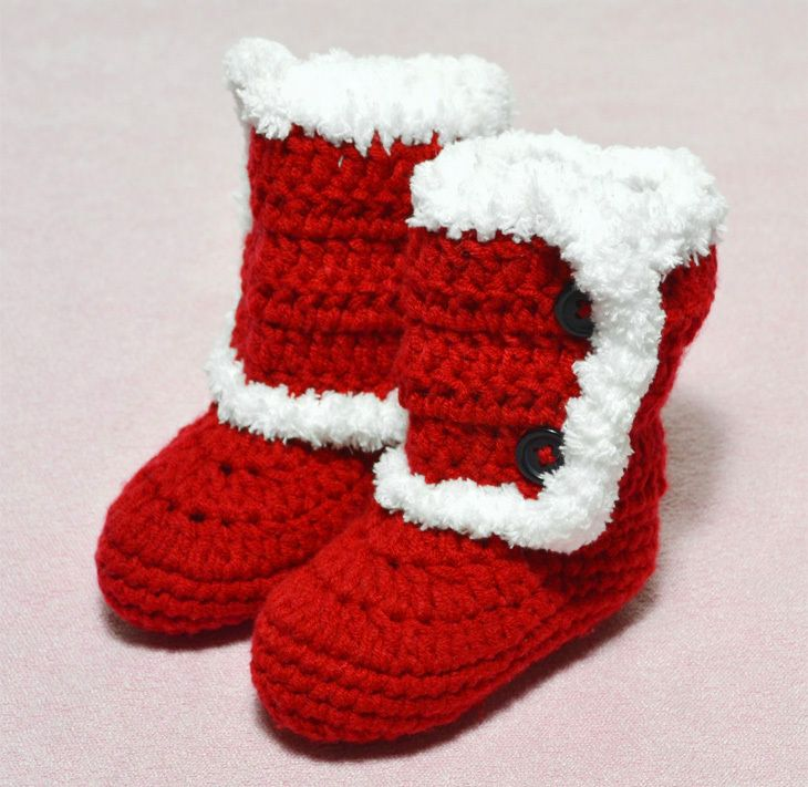 1pc HOT SALE Handmade Crochet Baby winter boots shoes christmas ...