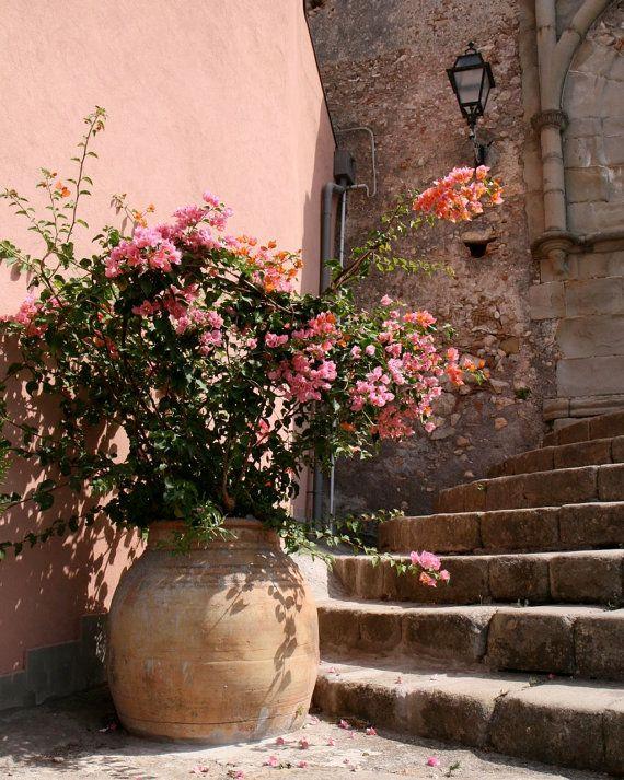 Photo of Sicily Italy Photography Print –  Peach Decor – Travel Photograph – Pink Flowers – Rustic Italian Architecture Print – Mediterranean Decor