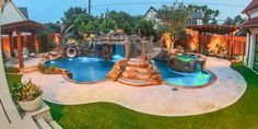This lovely pool area resembles a natural grotto with a waterfall as well as a commercial-grade tube slide, suspended bridge, artificial tree with rope swing, and a relaxing hot tub.