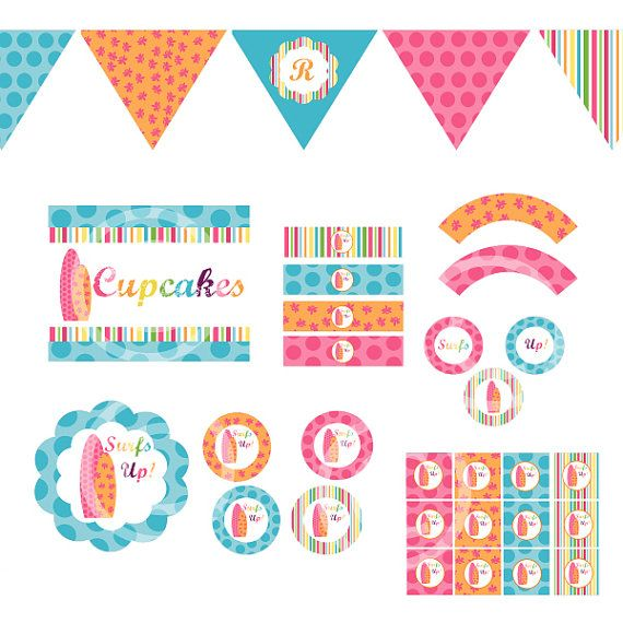 Surfer Girls Decorations for Birthday Party or Baby Shower - DIY Printable Decor by BeeAndDaisy - Instant Download