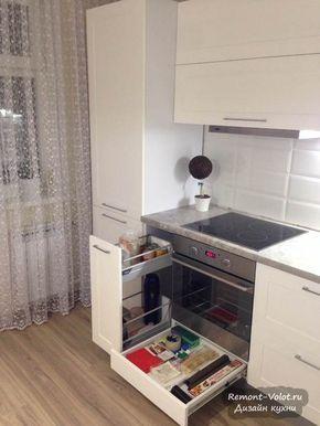 Белая кухня из лиственницы со встроенной техникой в ...