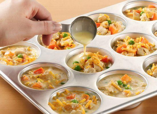 More Ideas for Muffin Tins!!  Individual Chicken Pot Pies!    Chicken Mixture   1 tablespoon vegetable oil   1 lb boneless skinless chicken breasts, cut into bite-size pieces   1 medium onion, chopped (1/2 cup)   1/2 cup chicken broth   1 cup frozen peas and carrots    1/2 teaspoon salt   1/4 teaspoon pepper   1/4 teaspoon ground thyme   1 cup shredded Cheddar cheese (4 oz)   Baking Mixture   1/2 cup Original Bisquick® mix   1/2 cup milk   2 eggs