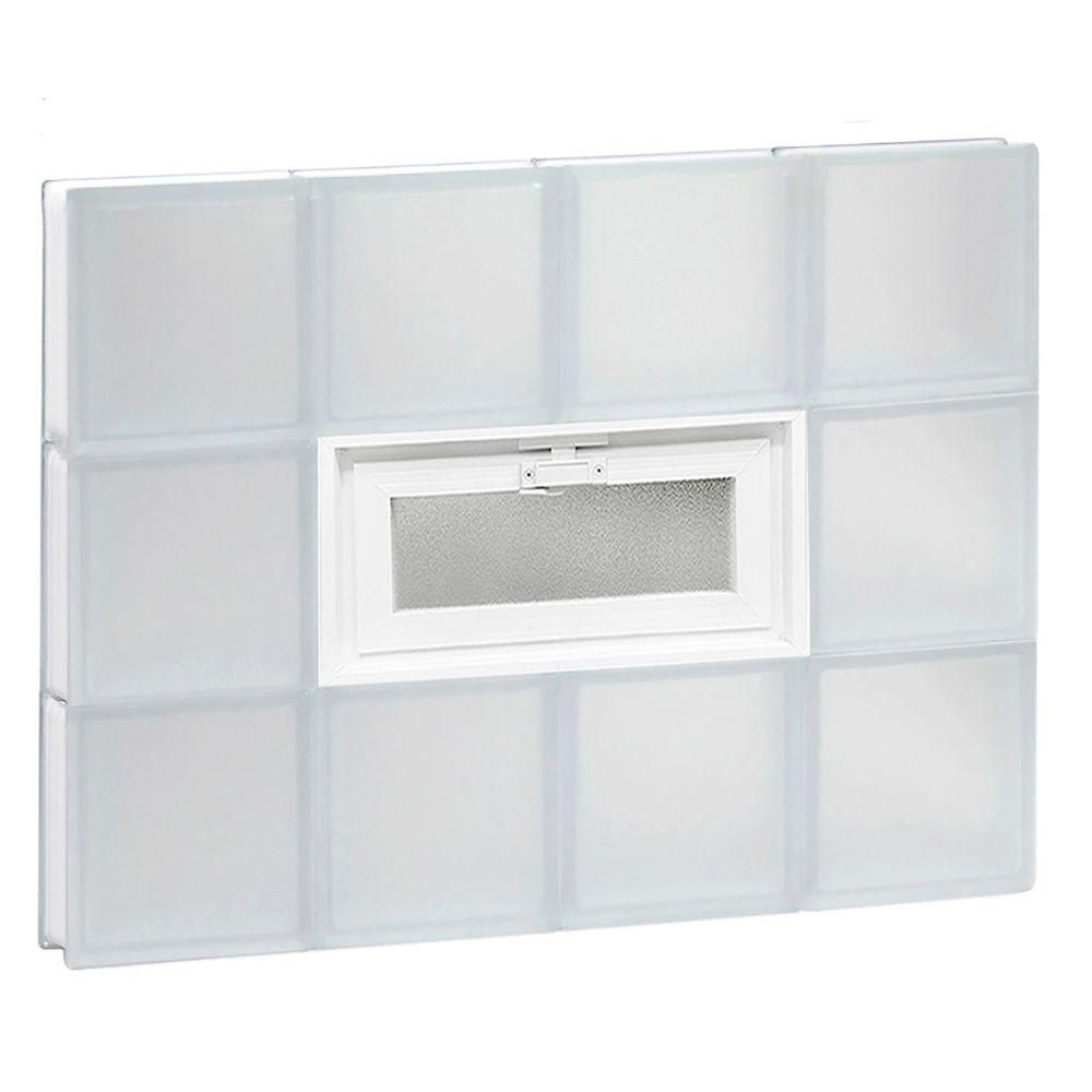 Clearly Secure 31 In X 23 25 In X 3 125 In Frameless Vented Frosted Glass Block Window 3224vfr Glass Block Windows Glass Blocks Frosted Glass