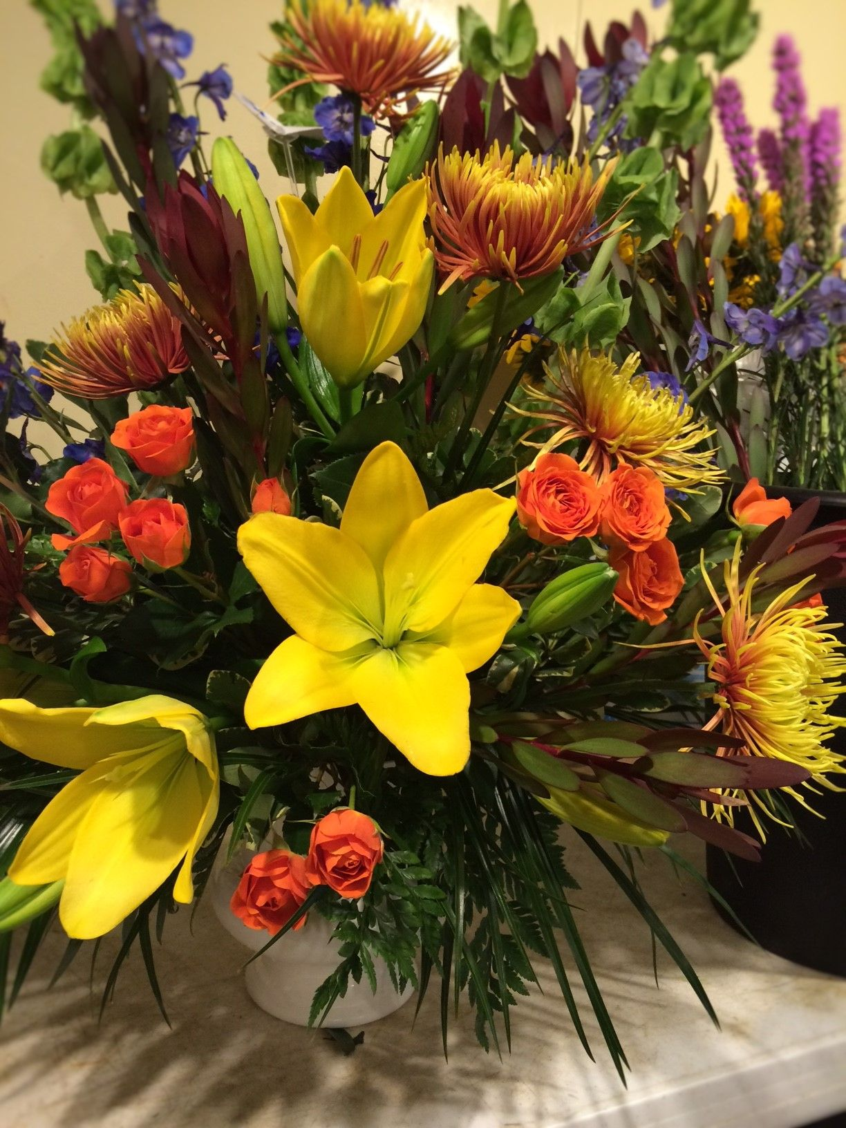 Beautiful Fall Colors Flower Arrangement Yellow Lilies