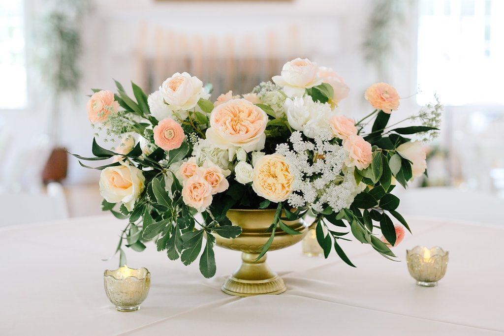 Peach And Ivory Wedding Flower Centerpiece Inspiration Ideas Utah