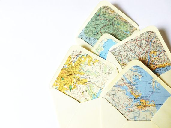 Vintage Map Lined Envelopes  Set of 10 by MintAfternoon on Etsy, $9.00
