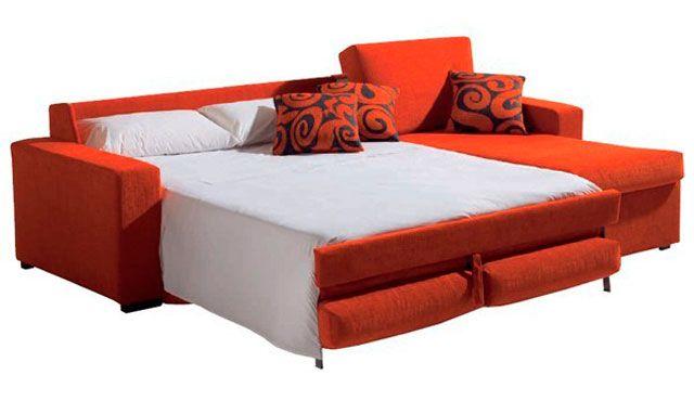 Sof cama sistema tradicional con chaise longue sof for Sofa cama chaise longue piel