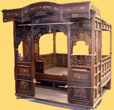 Large Antique Chinese Canopy Bed Jiazichuang Qing Lot