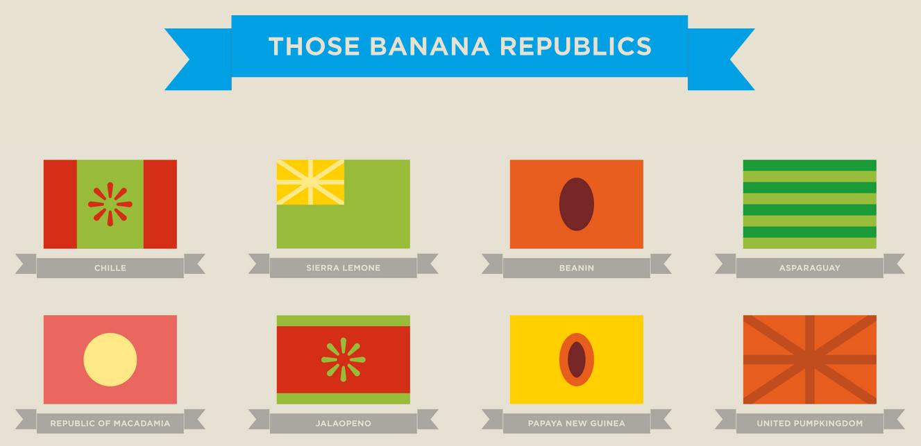 Cubacumber, Moroccoli, Papaya New Guinea: Welcome to 'Those Banana Republics' - https://magazine.dashburst.com/pic/cubacumber-moroccoli-papaya-new-guinea-welcome-to-those-banana-republics/