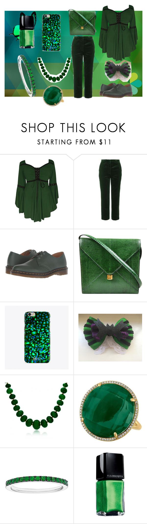 """redo rainbow set 22"" by makaylahurt74 on Polyvore featuring Topshop, Dr. Martens, Hermès, UPROSA, Bling Jewelry and Illamasqua"