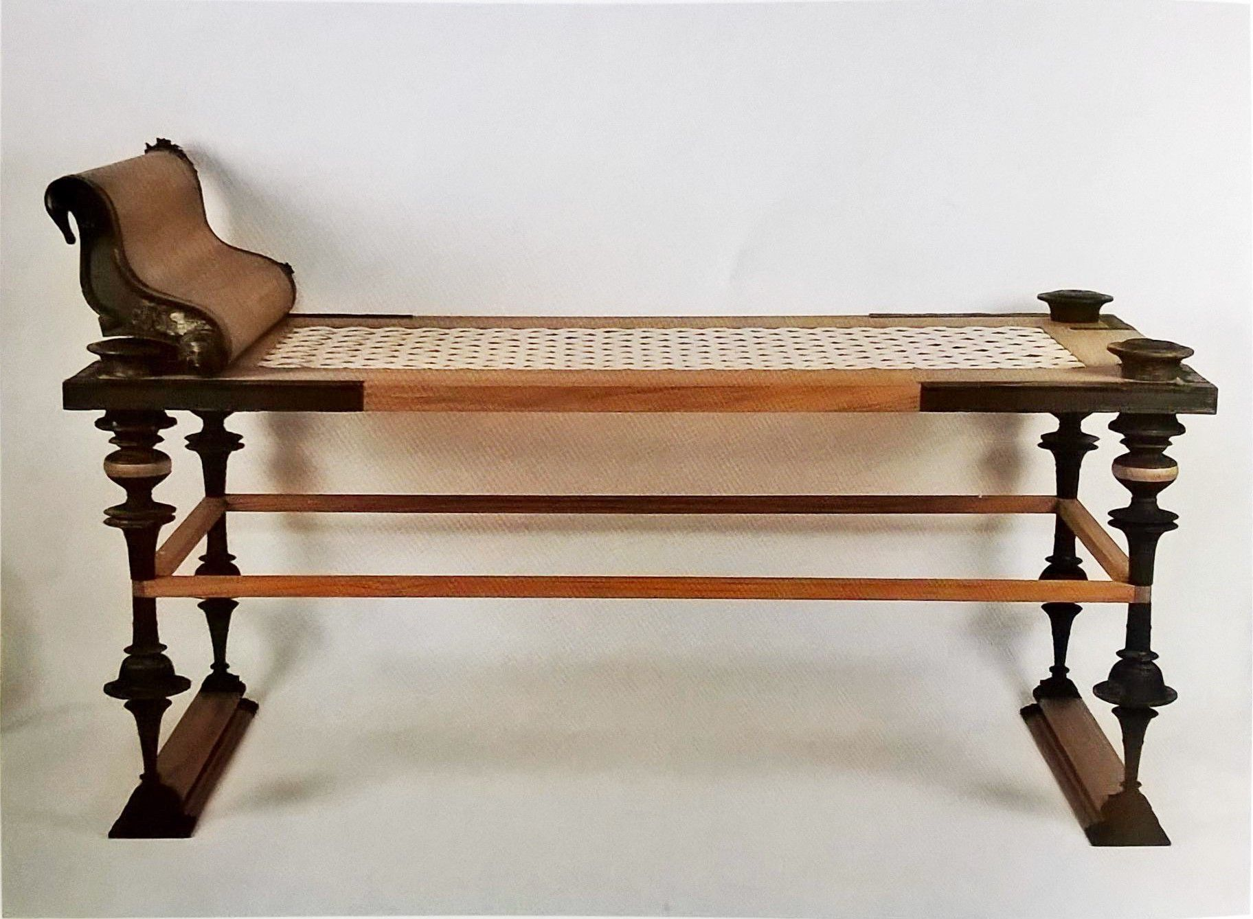Ancient roman furniture chairs - Reconstruction Of A Roman Kline From The Mahdia Shipwreck Turned Legs Neutral Colour