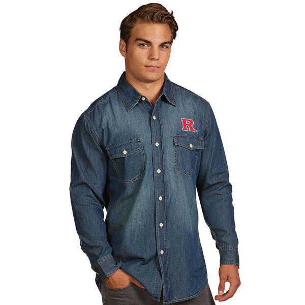 Rutgers Scarlet Knights Antigua Dark Chambray Long Sleeve Button-Up Shirt - Blue - $59.99