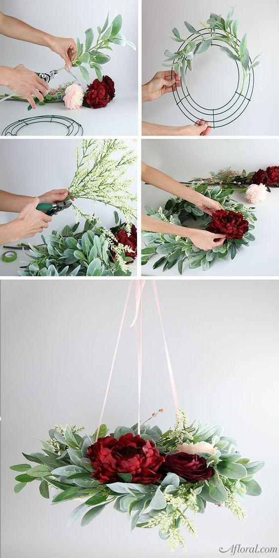 Wie man einen Blumenleuchter herstellt  CarozziOliva Com is part of Wedding decorations - Stellen Sie diesen romantischen Blumenleuchter her und verwenden Sie ihn als Ihr hängendes Hochzeits