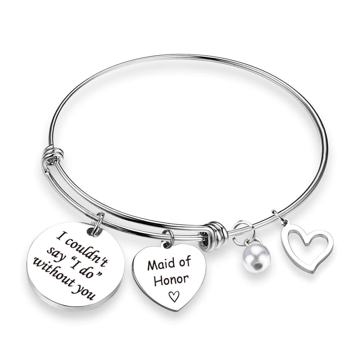 FEELMEM Maid of Honor Gift I Couldnt Say I Do Without You Bangle Bracelet Bridesmaid Jewelry Maid of Honor Proposal