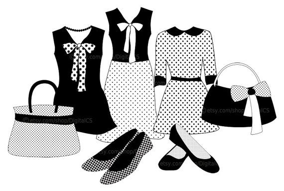 Clipart Fashion Clothes Black And White Girl Clip Art By Digitalcs