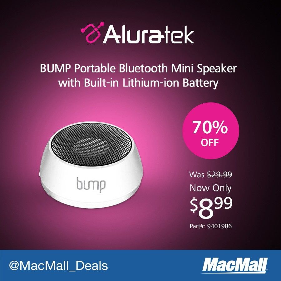 Save 70% on an #Aluratek BUMP bluetooth mini speaker. #PriceDrop