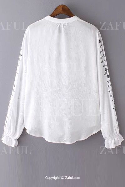 Floral Embroidery V Neck Long Sleeve Blouse