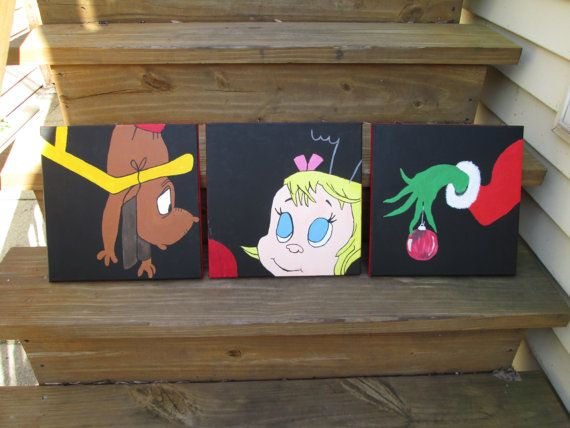 How The Grinch Stole Christmas 12x12 Character Paintings