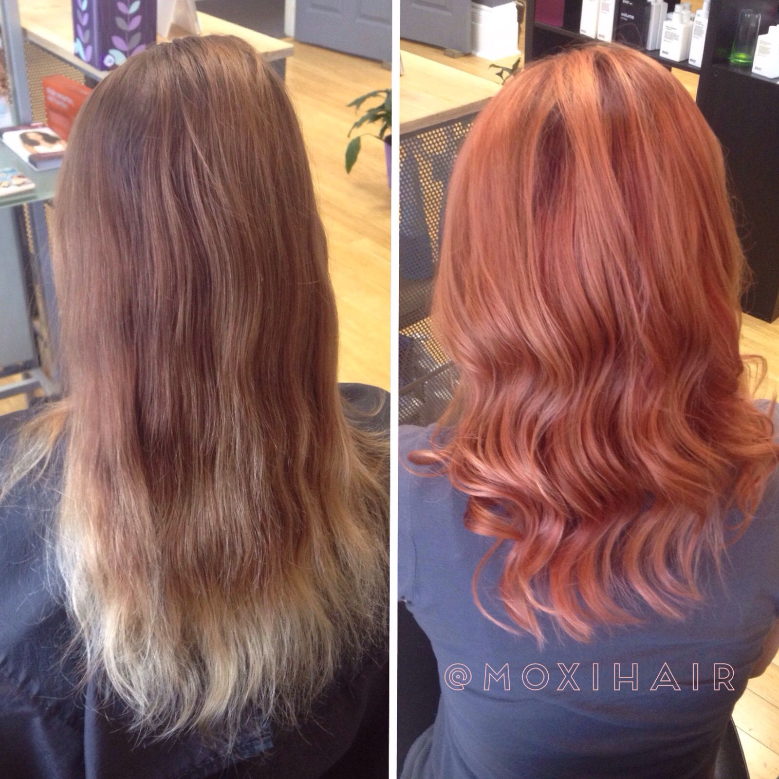 Before and After Rose Gold hair color Our Work Pinterest