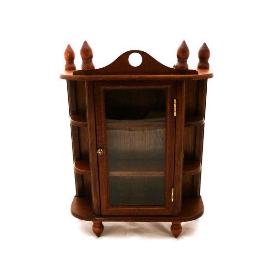 Vintage Wooden Curio Cabinet Curiosity Miniature Display Case