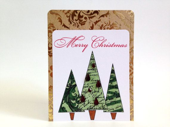 Single Christmas Card - Stamped Merry Christmas Card - Unique