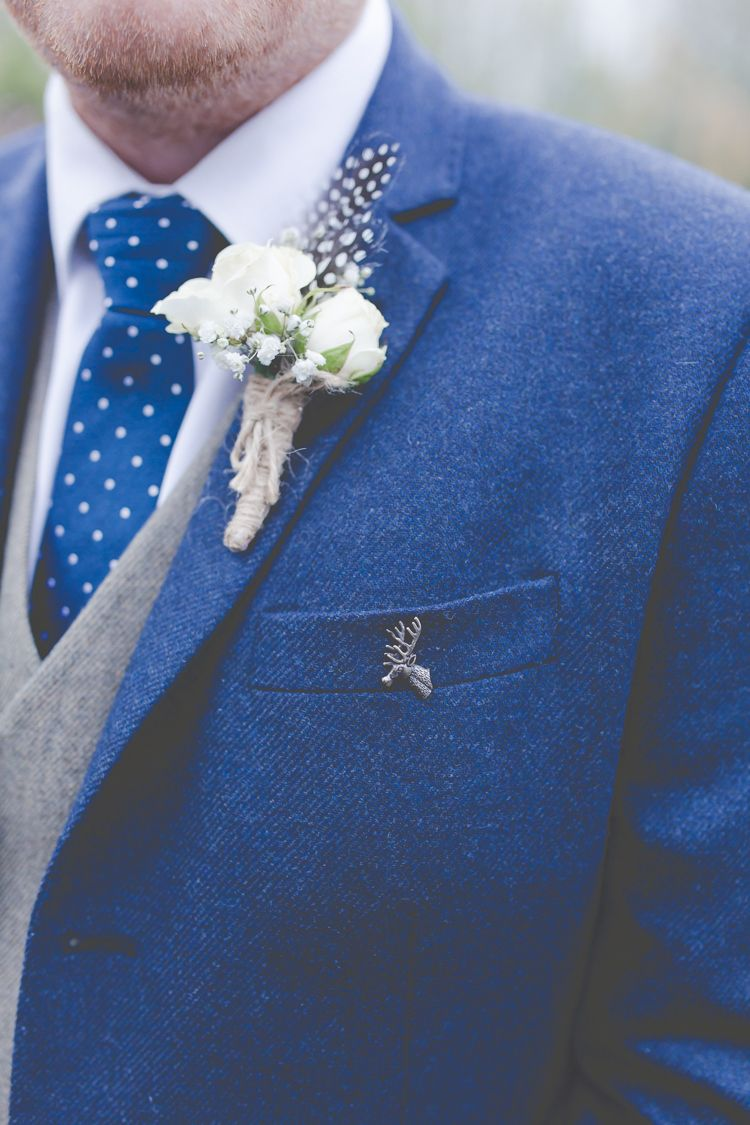 Groom style stag badge buttonhole twine feather quirky rustic diy