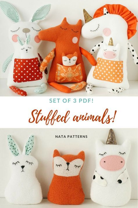 Stuffed animal pattern PDF Unicorn Rabbit bunny sewing Easy tutorial ...