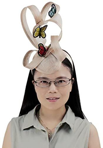 Amazing offer on Embroidery Butterfly Ribbon Curl Exotic Sinamay Fascinator Headband Hats Derby Racing Hat online - Prettytoppro