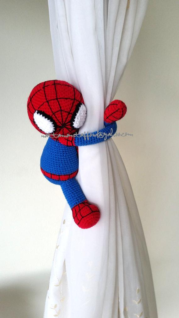 Spiderman Crochet curtain tie back, Handmade Spiderman crochet ...