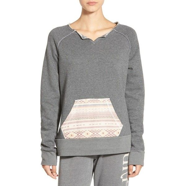 Women's Rip Curl 'Surf Bandit' Mixed Media Sweatshirt (£41) ❤ liked on Polyvore featuring tops, hoodies, sweatshirts, grey, grey sweatshirt, bohemian tops, split neck top, boho style tops and grey top
