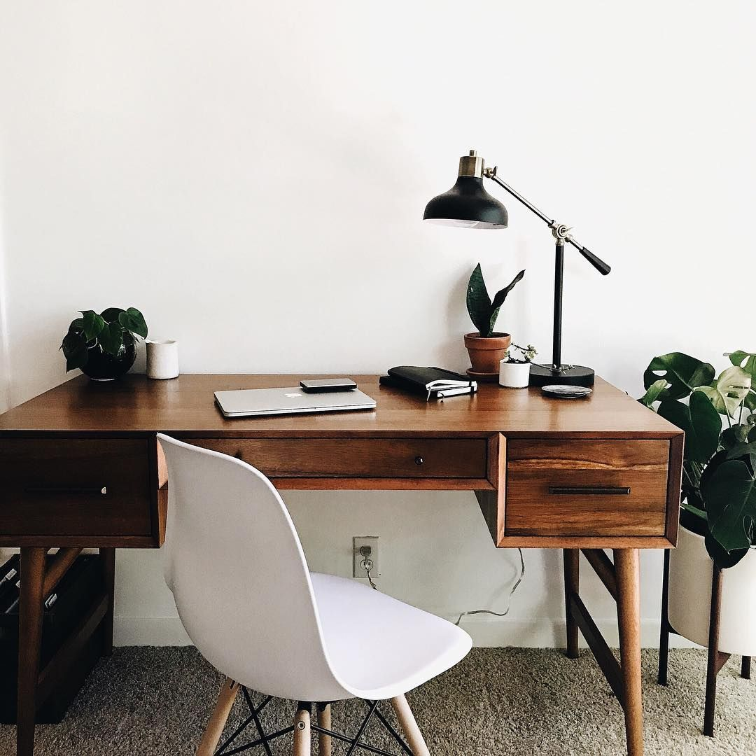 Wood Desk With White Eames Shell Chair