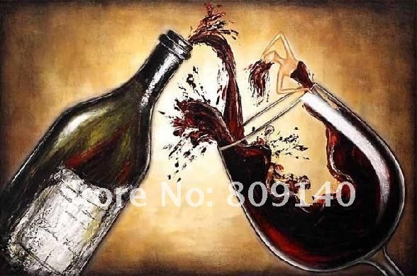 Wine Bottles Painting Canvas Oil Painting Still Life Kitchen Restaurant  Decor Art Hand Painted Home Hotel