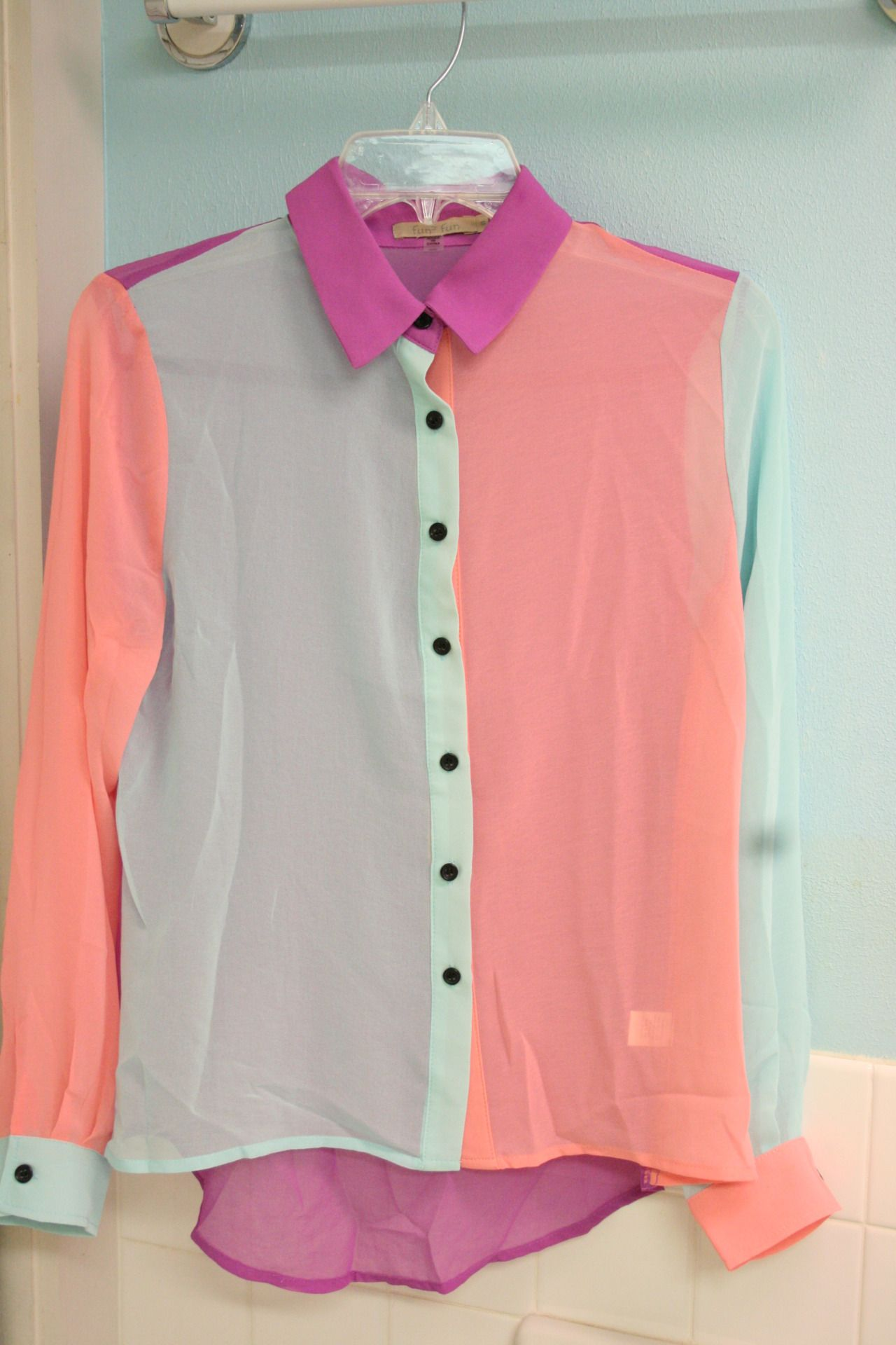 Color block pastel blouse