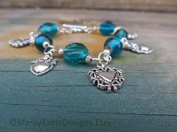Green and Silver Heart Bracelet by MessyTableDesigns on Etsy, $15.50