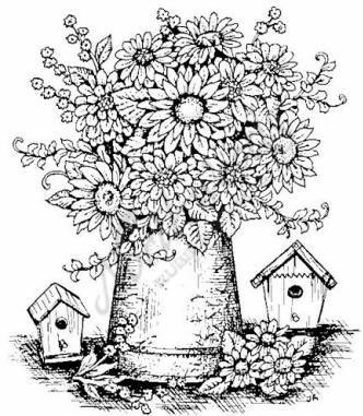 Northwoods Rubber Stamp -Gerbera Daisy Vase & Birdhouses | Adorable ...
